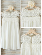 Empire Knee-length Flower Girl Dress - Chiffon Lace Sleeveless Scoop Neck With Ruffles