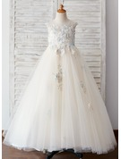 Ball-Gown/Princess Sweep Train Flower Girl Dress - Tulle Sleeveless Scoop Neck With Flower(s)