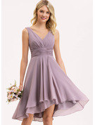 A-Line V-neck Asymmetrical Chiffon Bridesmaid Dress With Ruffle