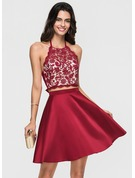 A-Line/Princess Halter Short/Mini Satin Homecoming Dress With Beading Bow(s)