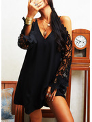 Lace Solid Shift V-Neck Long Sleeves Cold Shoulder Sleeve Midi Casual Elegant Little Black Tunic Dresses