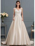 Ball-Gown V-neck Court Train Satin Wedding Dress