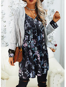 Floral Lace Print Shift V-Neck Long Sleeves Midi Casual Elegant Tunic Dresses