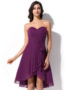 A-Line Sweetheart Asymmetrical Chiffon Bridesmaid Dress