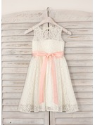 A-Line Knee-length Flower Girl Dress - Lace Sleeveless Scoop Neck With Sash/Bow(s)/Back Hole