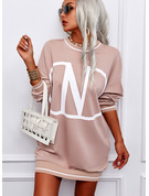 Print Shift Round Neck Long Sleeves Midi Casual Sweatshirt Dresses