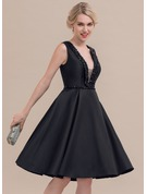 A-Line/Princess V-neck Knee-Length Satin Cocktail Dress With Beading