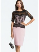 Cotton Blends With Lace Knee Length Dress