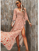 Floral Print A-line V-Neck 3/4 Sleeves Maxi Boho Casual Vacation Skater Wrap Dresses