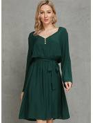 Polyester/Viscose With Solid Above Knee Dress