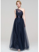 A-Line/Princess One-Shoulder Floor-Length Tulle Bridesmaid Dress With Ruffle