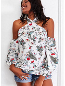Regular Cotton Blends Cold Shoulder Floral Print Fitted Blouses