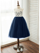 Tea-length Flower Girl Dress - Tulle Lace Sleeveless Scoop Neck With Lace