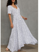 PolkaDot A-line V-Neck Short Sleeves Maxi Casual Vacation Skater Dresses