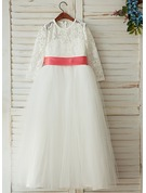 A-Line/Princess Floor-length Flower Girl Dress - Satin/Tulle/Charmeuse Long Sleeves Scoop Neck With Sash