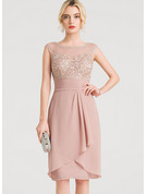 Sheath/Column Scoop Neck Knee-Length Chiffon Cocktail Dress With Cascading Ruffles