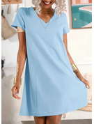 Solid Shift V-Neck Short Sleeves Midi Casual Vacation T-shirt Dresses