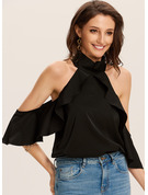 1/2 Sleeves Flare Sleeve Polyester Cold Shoulder Blouses