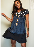 Plaid PolkaDot Shift V-Neck Short Sleeves Midi Casual T-shirt Dresses