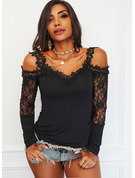Regular Cotton Blends Cold Shoulder Lace Solid Tight Blouses