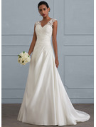 V-neck Sweep Train Satin Wedding Dress