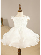 Ball-Gown/Princess Knee-length Flower Girl Dress - Organza Sleeveless Off-the-Shoulder
