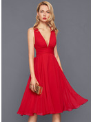 V-Neck Chiffon Cocktail Dress With Ruffle