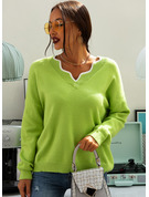 Cable-knit Solid Polyester V-neck Pullovers Sweaters