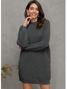 Chunky knit Solid Polyester Stand Collar Pullovers Sweater Dresses Sweaters