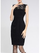 Polyester/Cotton With Lace Knee Length Dress