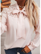 Regular Cotton Blends Stand collar Lace Solid Fitted Blouses