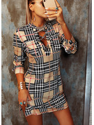 Plaid Sheath V-Neck Long Sleeves Midi Sexy Dresses