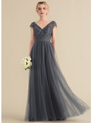 V-neck Floor-Length Tulle Lace Bridesmaid Dress