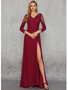 Trumpet/Mermaid V-neck Sweep Train Chiffon Evening Dress With Lace Sequins