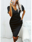 Solid Bodycon V-Neck Short Sleeves Midi Casual Little Black Pencil Dresses