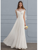 A-Line Illusion Floor-Length Chiffon Wedding Dress With Ruffle