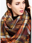 Plaid Oversized/Cold weather Artificial Wool Poncho