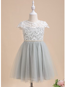 A-Line Knee-length Flower Girl Dress - Short Sleeves Scalloped Neck With Lace/Beading/Sequins