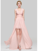 A-Line Scoop Neck Asymmetrical Chiffon Bridesmaid Dress With Ruffle Lace Beading