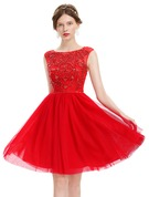 A-Line Scoop Neck Knee-Length Tulle Homecoming Dress With Beading Sequins
