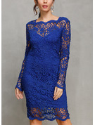 Polyester With Lace/Hollow/Solid Above Knee Dress