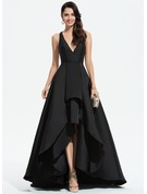 A-Line V-neck Asymmetrical Satin Prom Dresses With Cascading Ruffles