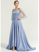 A-Line Strapless Asymmetrical Satin Evening Dress With Flower(s) Sequins