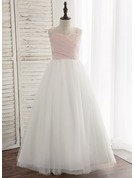 Floor-length Flower Girl Dress - Chiffon Tulle Lace Sleeveless Straps With Pleated