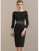 Sheath/Column Off-the-Shoulder Knee-Length Jersey Mother of the Bride Dress With Beading Sequins