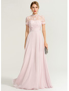 High Neck Floor-Length Chiffon Prom Dresses