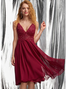 A-Line V-neck Knee-Length Chiffon Prom Dresses With Sequins