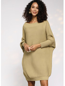 Waffle Knit Chunky knit Solid Polyester Round Neck Pullovers Sweater Dresses Sweaters