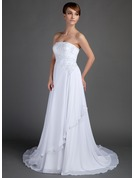 A-Line/Princess Strapless Court Train Chiffon Wedding Dress With Beading Appliques Lace