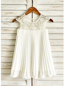 Knee-length Flower Girl Dress - Chiffon Sleeveless Scoop Neck With Ruffles Beading